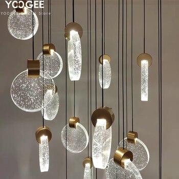 YOOGEE Modern Chandeliers Crystal Chandelier Lighting for Kitchen dining room Loft LED Indoor Stair Cristal Lamp люстра