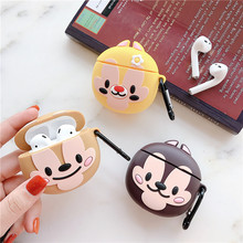 For Apple AirPods Case 3D Cute Cartoon Chip Dale Squirrel Chipmunk Pine Nuts Wireless Earphone Accessories Cover for Airpods 1/2