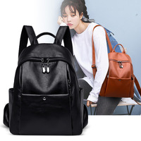 Retro Shoulder Bag Female Bag 2019 New European and American Trend Soft Surface PU Leather Youth Travel Backpack In School Bag