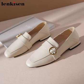 Lenkisen hot elegant pearl metal decorations cow leather square toe low heels slip on spring fashion streetwear women pumps L00