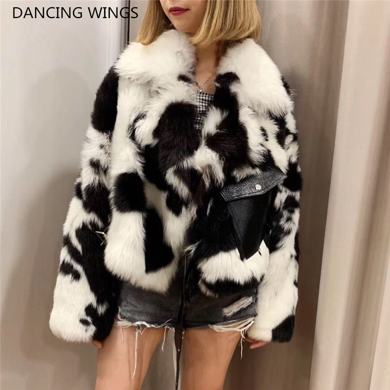 2019 Cow Color Luxury Fur Coats Women Double-faced Fur Motorcycle Jacket Short Style Real Sheep Wool Fur Coats Winter