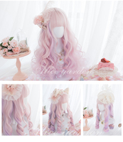 gradient ramp Pink Curly lolita Cosplay Wig Girl Hairpiece Soft Pink Girl Wavy Curly Hair Periwig 50 cm Wig only no accessory