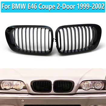 2 Pcs Car Matte Black Front Hood Kidney Grille Grill For BMW E46 Coupe 2-Door 1999-2002 Racing Grille Trim COVER image