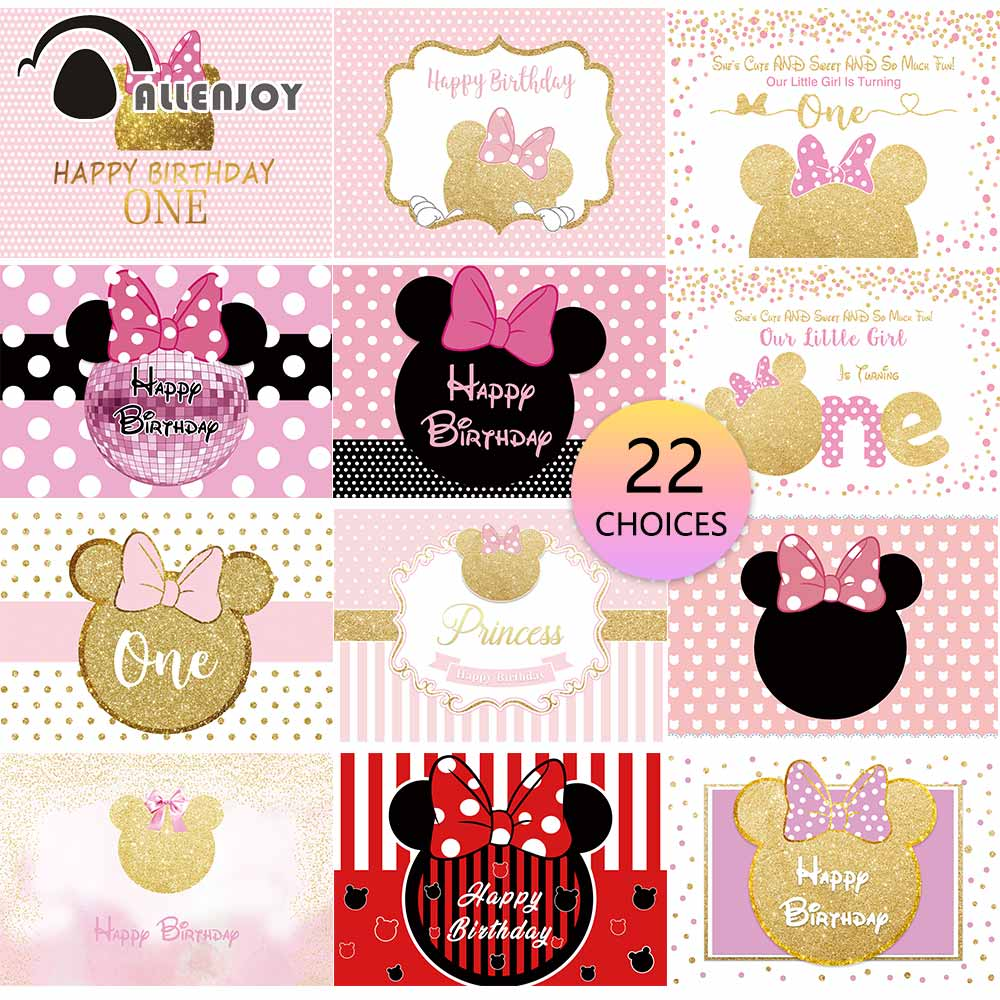 Allenjoy mouse birthday backdrop cartoon party pink girl decoration kids Baby Shower newborn customize background photocall