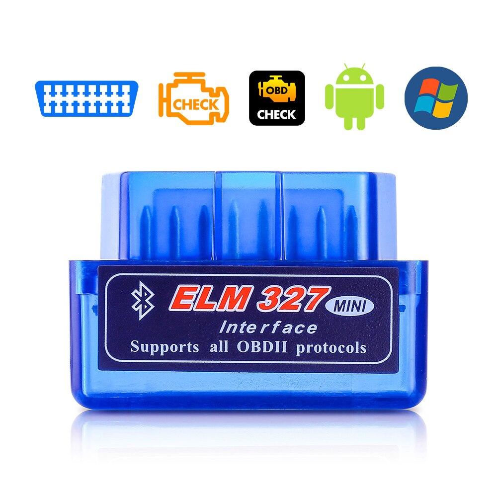 Nuevo OBD V2.1 V1.5 mini ELM327 OBD2 escáner automático Bluetooth OBDII 2 automóvil Elm 327 herramienta de diagnóstico para Android Windows Symbian Coche Mini portátil ELM327 V2.1 OBD2 II Bluetooth diagnóstico coche Auto interfaz escáner azul Premium ABS herramienta de diagnóstico