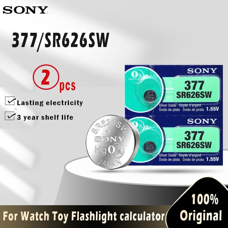 Moeda 100% v 1.55 377a sr626sw sr626 ag4 lr626 sr66 ag 4 botão de célula tipo moeda para relógio 2 peças bateria de moeda remota de brinquedos