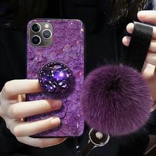 Luxury Diamond Cute Hair Ball Lanyard Bracket Soft Case For