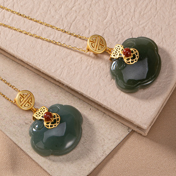 S925 Sterling Silver Pendant Necklace with Chains  Emerald Necklaces Jasper Necklaces Royal Style   for Women  Jade