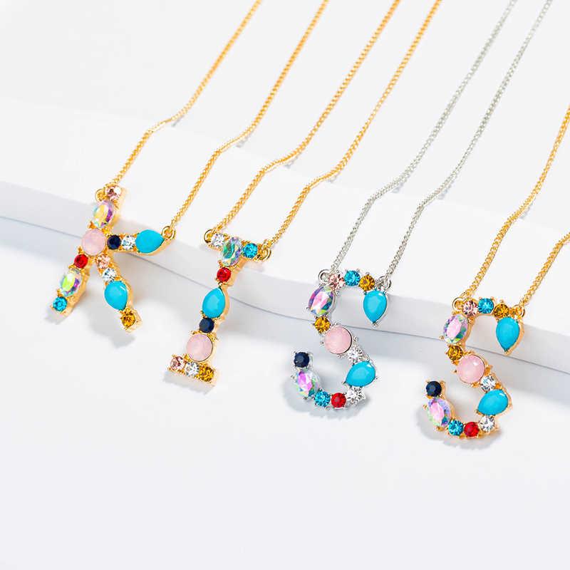 Moda charme multicolorido inicial 26 alfabeto ouro/prata pingente colar micro pave zircon carta inicial colares nome do casal