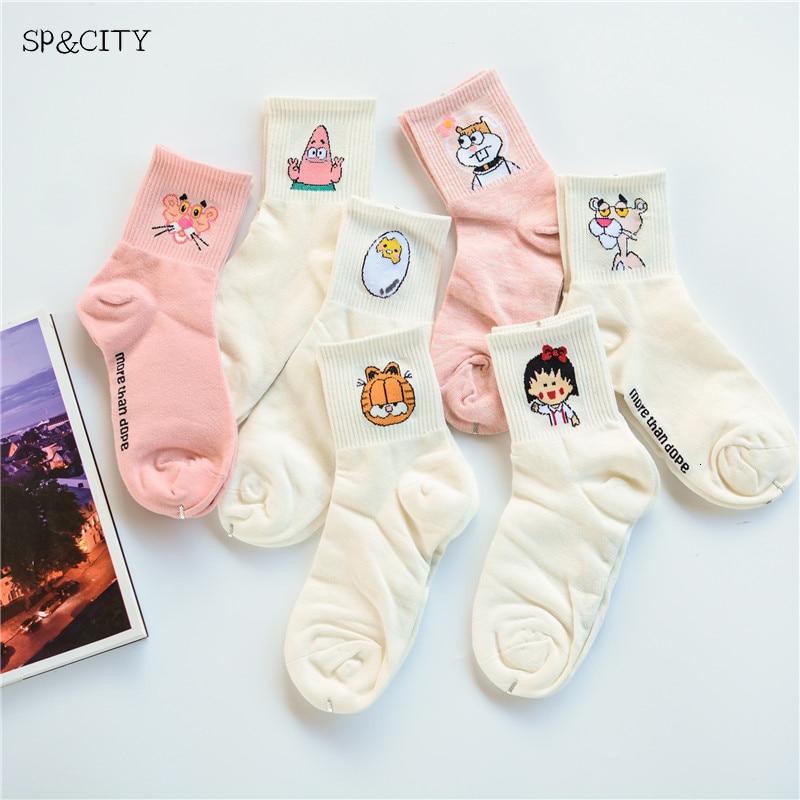 Women Cartoon Character Cotton Socks Art Character Patterned Short Cute Socks For Female Fashion Animal Print Ankle Sox Trendy