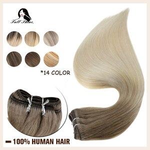 Image 1 - Tam parlaklık saç atkı görünmez makine Remy saç demetleri Balayage renk 100g cilt atkı çift atkı dikmek saç ekleme