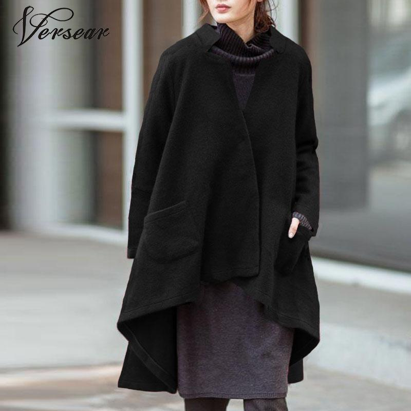 Versear Women Autumn Outerwear Casual Solid Notched Collar Pockets Long Sleeve Irregular Coat Fashion Poncho Coat Plus Size 5XL-in Wool & Blends from Women's Clothing