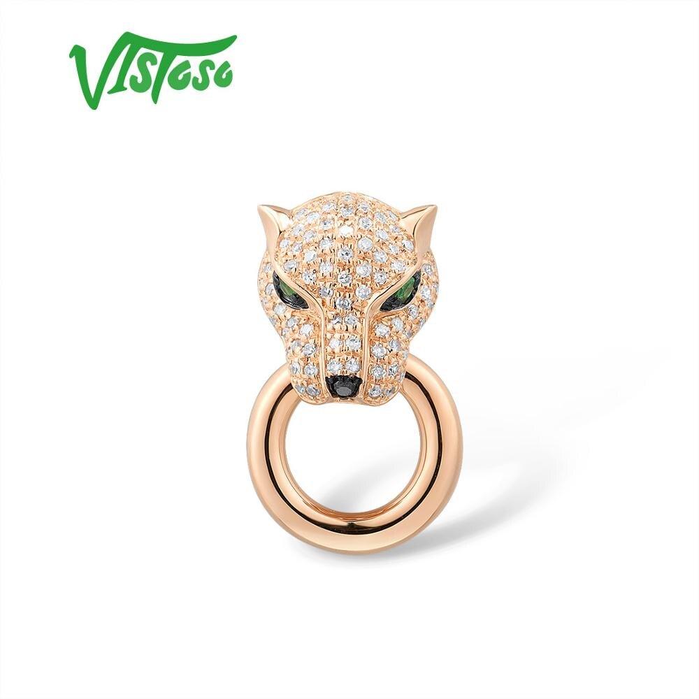 VISTOSO Gold Pendant For Women Genuine 14K 585 Rose Gold Leopard Pendant Emerald Sparkling Diamond Engagement Fine Jewelry