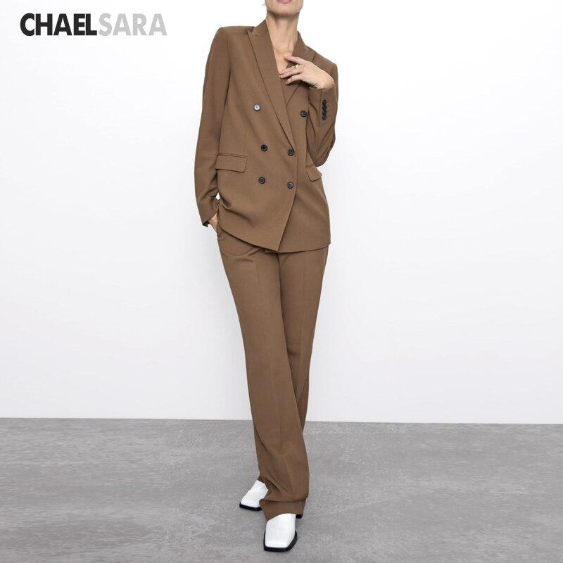 Double Breasted Women Pant Suit Solid Notched Blazer Jacket+ Pant Two Piece Set Women 2019 Autumn Office Wear Women Suits