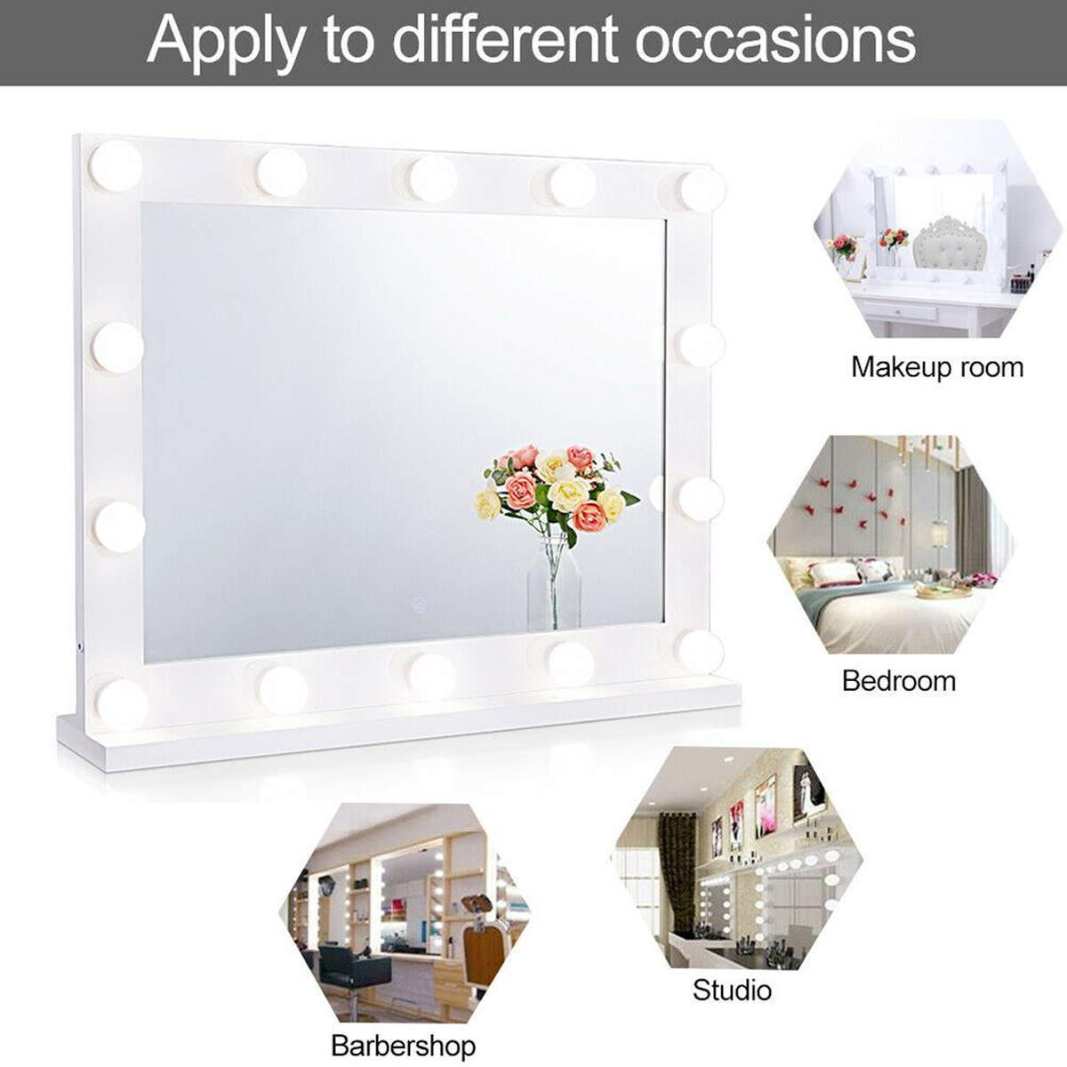 Hollywood Makeup Mirror Vanity Lighted Cosmetic Mirror with 14 LEDs Lights For Tabletop Bathroom Beauty Mirror Dressing Room 5