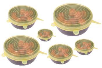 6 Ελαστικά Καπάκια Σιλικόνης Για Μπολ