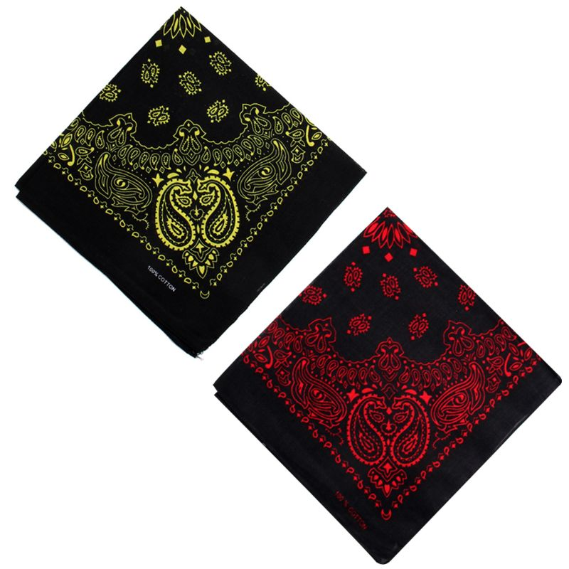 Unisex Cotton Square Bandanas Hip Hop Double Paisley Floral Print Headband Windproof Face Cover Cycling Sports Neck Tie Headwrap