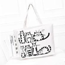 Printed Cartoon Cat Handbag Kawaii Shoulder Bag Canvas Tutorial Bags for Students School Bags for Girls Office Supplies