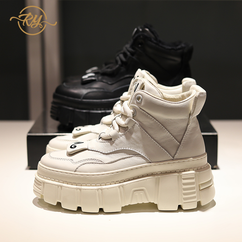 RY-RELAA Sneakers Women 2018 Fashion Womens Designer Shoes Ins Genuine Leather Wedge Sneakers Platform High Super White Sneakers