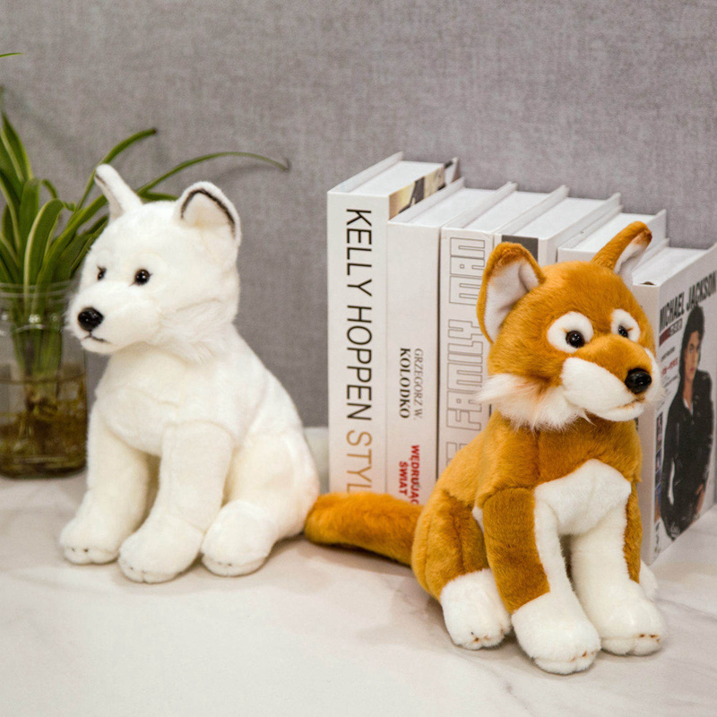 New 28cm Simulation Fox Dog Plush Toy Creative Realistic Animal Sitting Dolls Stuffed Soft Toys For Children Girl Birthday Gift