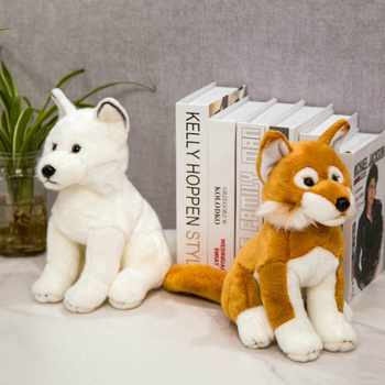 цена на New 28cm Simulation Fox Dog Plush toy Creative Realistic Animal Sitting Dolls Stuffed Soft Toys for Children Girl Birthday Gift