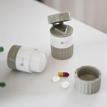 цена на Portable Pill Box Powder Grinder Pill Cutting Moisture-proof Medicine Distribution Box Travel  Business Medicine Storage Box