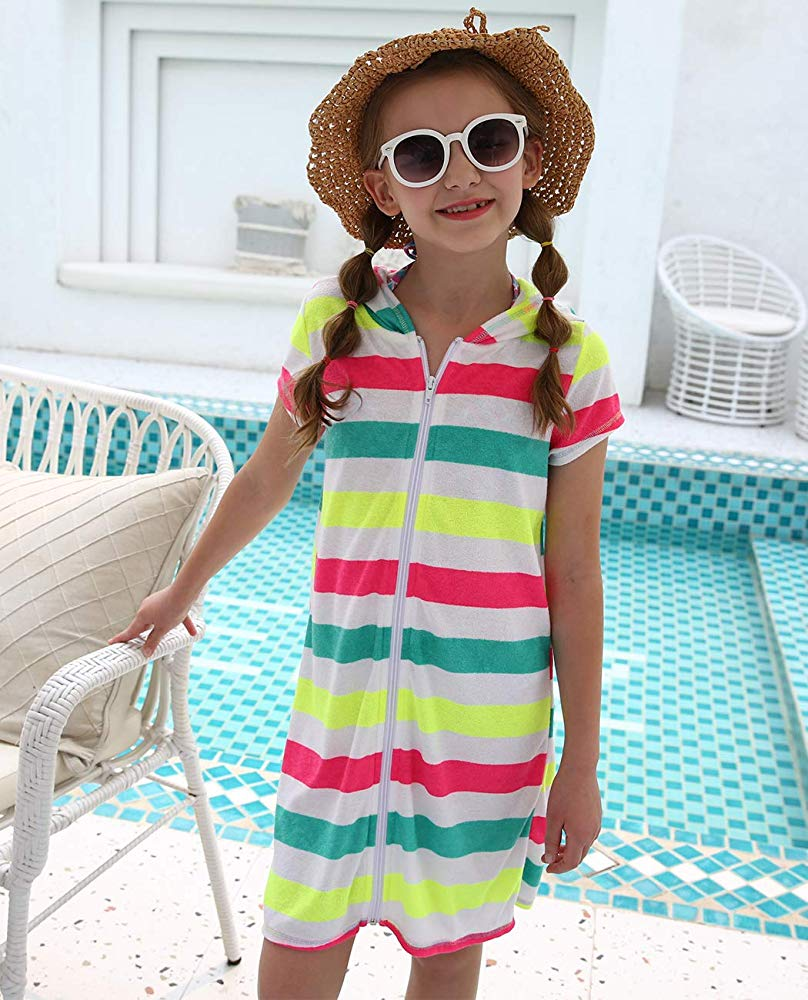 Girls' Cover-ups Swimsuit Beach Dress Top, Short Sleeves Hooded Swimming Towel Cover Up Swimsuit Fashion <font><b>Amazon</b></font> Best Seller image