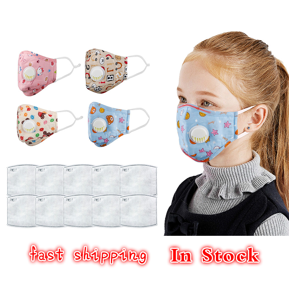 Kids Cotton Anti Dust Mouth Mask Activated Carbon Filter Windproof With Breathing Valve Face Mouth Masks Respirator Dropshipping