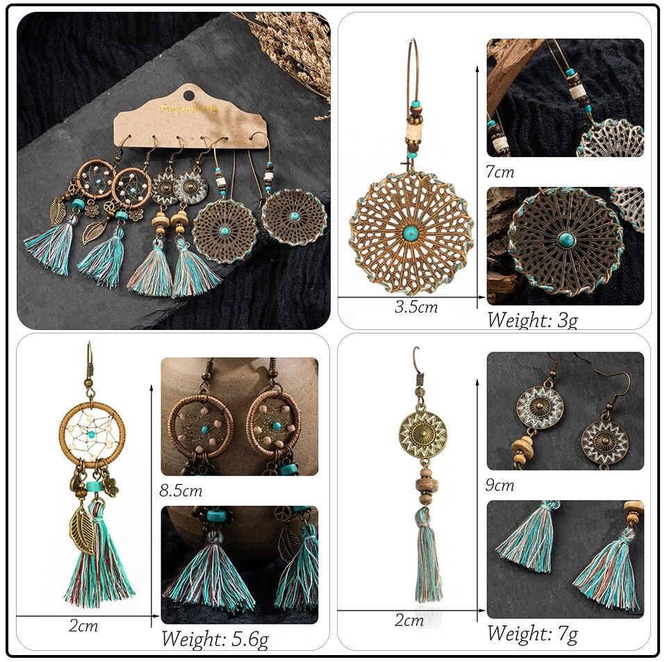 Bohemia Sea Shells Drop Earrings for Women Sets Vintage Ethnic Big Round Stones Wooden Tassel Fringe Earring Women's Set Jewelry (5)