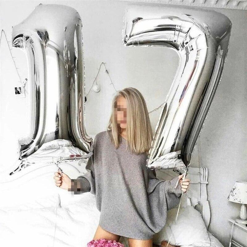 16/32 polegada número da folha de alumínio balões rosa ouro prata dígitos figura balão criança adulto aniversário decoração do casamento fontes festa|Balões e acessórios|   -