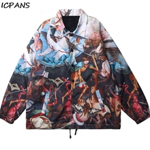 ICPANS Hip Hop Streetwear Print Windbreaker Coaches Jackets Coats Pieter Bruegel the Elder Fall of Rebel Angels Painting
