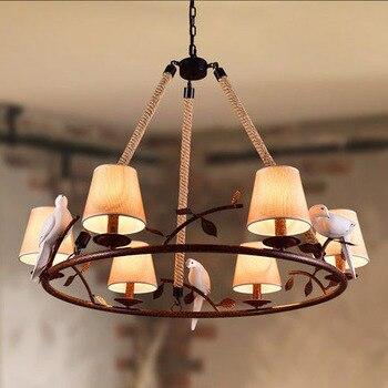 Lámpara colgante de cuerdas de cáñamo estilo Retro americano lámparas con pájaros cordón de cáñamo Vintage luces colgantes para cafetería Bar Foyer S luminaria