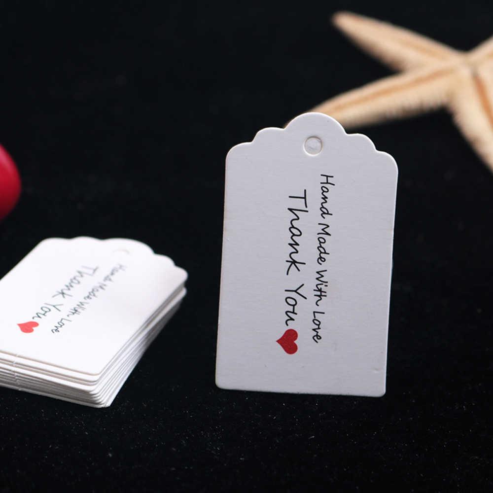 100 개/몫 손으로 만든 사랑 종이 스윙 태그 선물에 대 한 심장 수 놓은 태그 수 제 종이 레이블에 대 한 감사합니다