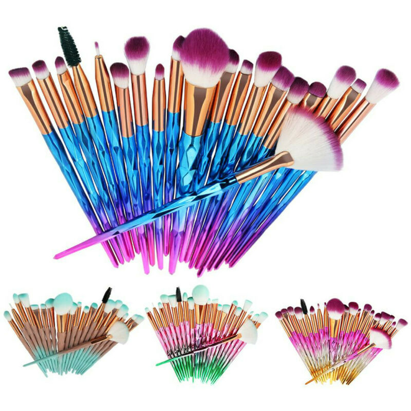 Faroot 20 PCS Unicorn Diamond Make Up Brushes Set Foundation Eyeshadow Eyebrow Blending Brush Set Lip Make-up Powder Tools
