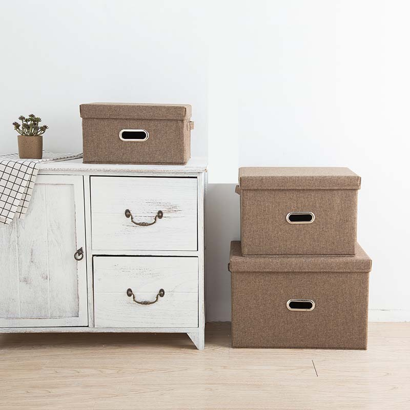 Square Folding  Cotton Linen Clothing Storage Box Large Wardrobe Rectangle Storage Bin Organizer With Cover Portable Container