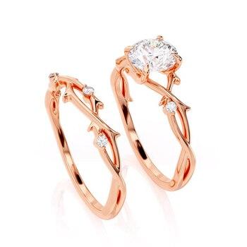 GUYINKU 14k 585 Rose Gold 1ct 6.5mm EF Color Moissanite Trendy Engagement Ring Set for Women Wedding Gift 5