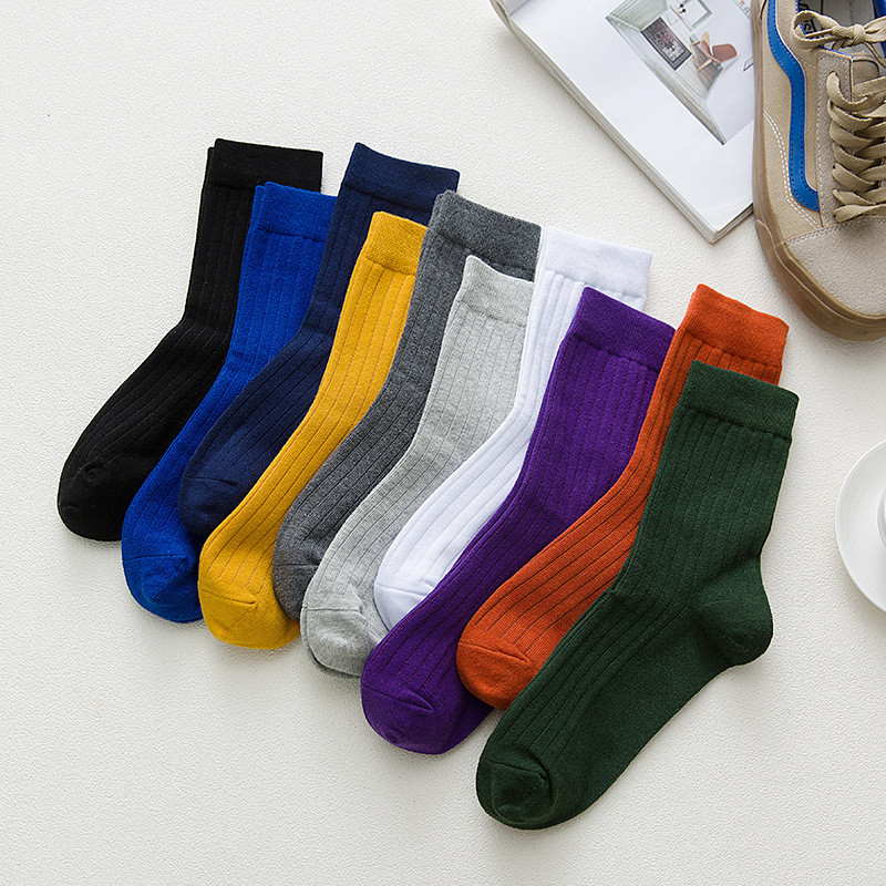 2020 Japanese Casual Cotton Socks Warm Solid Knitting Long Sock For Women Men Winter Fall Girl Ladies Festival Gifts Accessories
