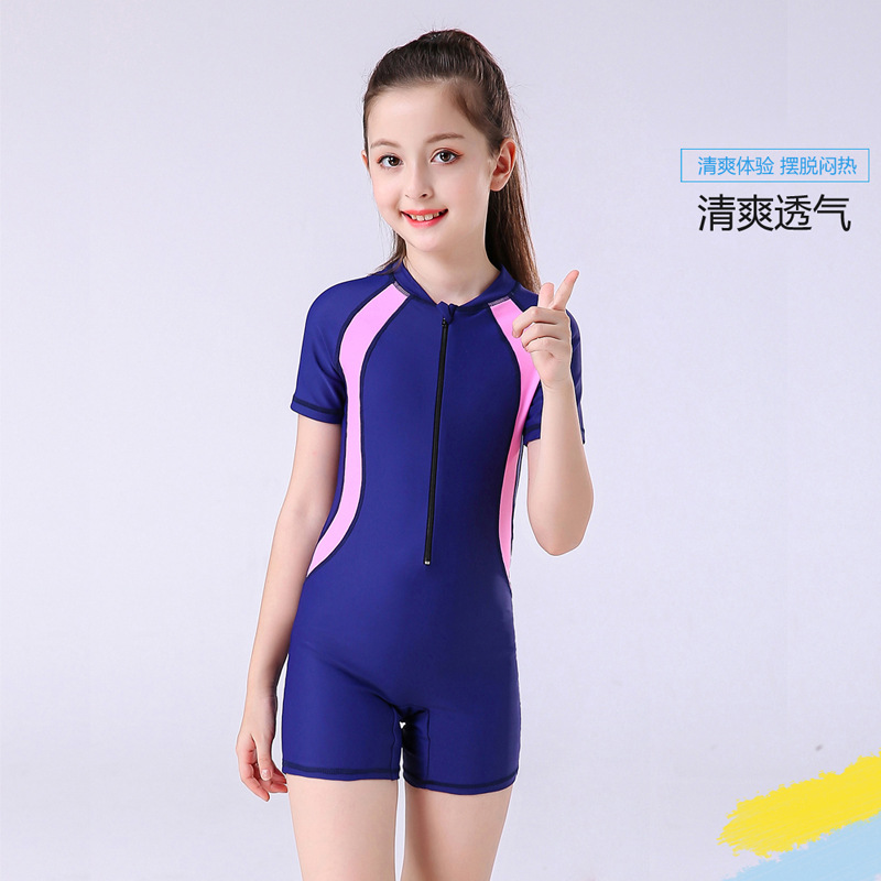 Children Industry Middle And Large GIRL'S One-piece Swimming Suit Virgin Tong Dai Chest Pad Big Kid Chinlon Code Students GIRL'S
