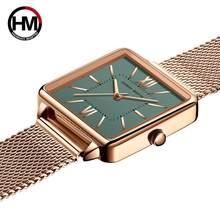 Anna Martin orologi donna giappone movimento al quarzo il nuovo Design quadrante verde cinturino in lega regalo temperamento impermeabile 1082