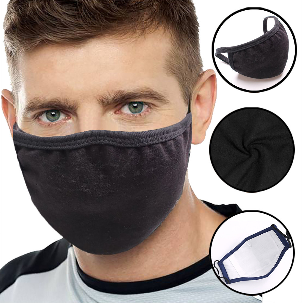 Anti-dust Black Mouth Mask Unisex Cotton Face Mask Anime Mask For Cycling Cycling Face Mask Men Bike Helmet Beanies Masked Cap