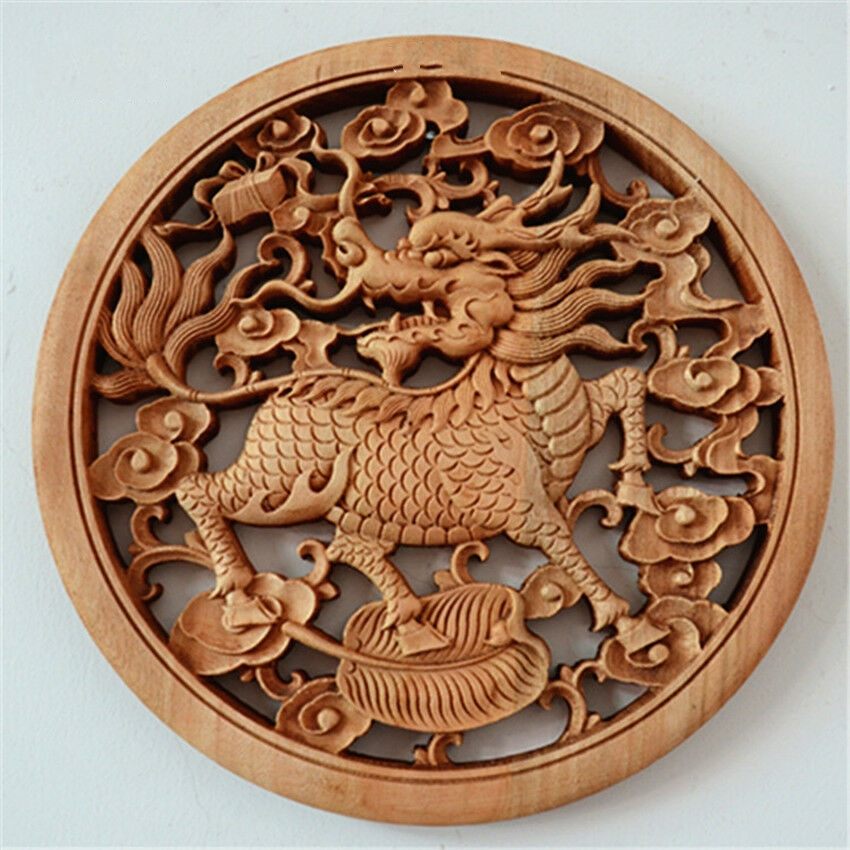 Chinese Handwork Carving Kylin Unicorn God Beast Animal Statue Bring Safe And Good Luck