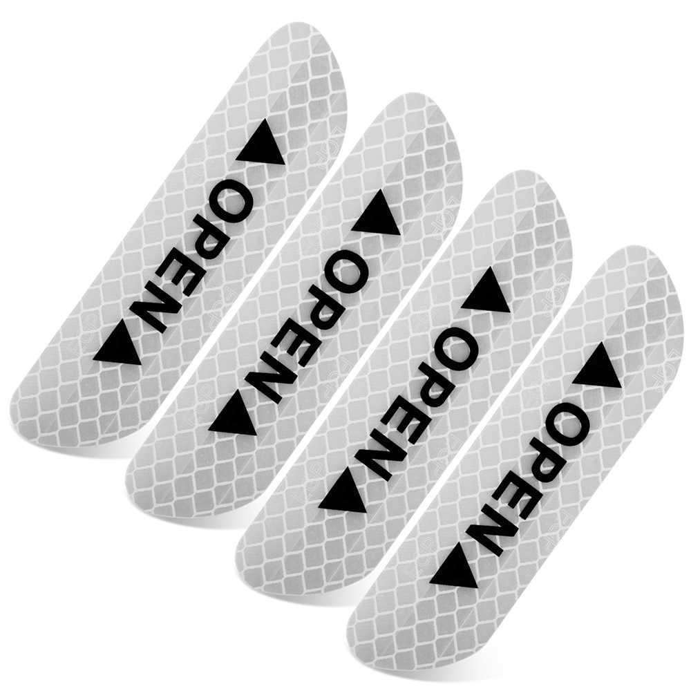 4 piezas pegatinas de puerta de coche cinta reflectante cinta de advertencia accesorios de Exterior automático señal de seguridad reflectante Reflector de luz