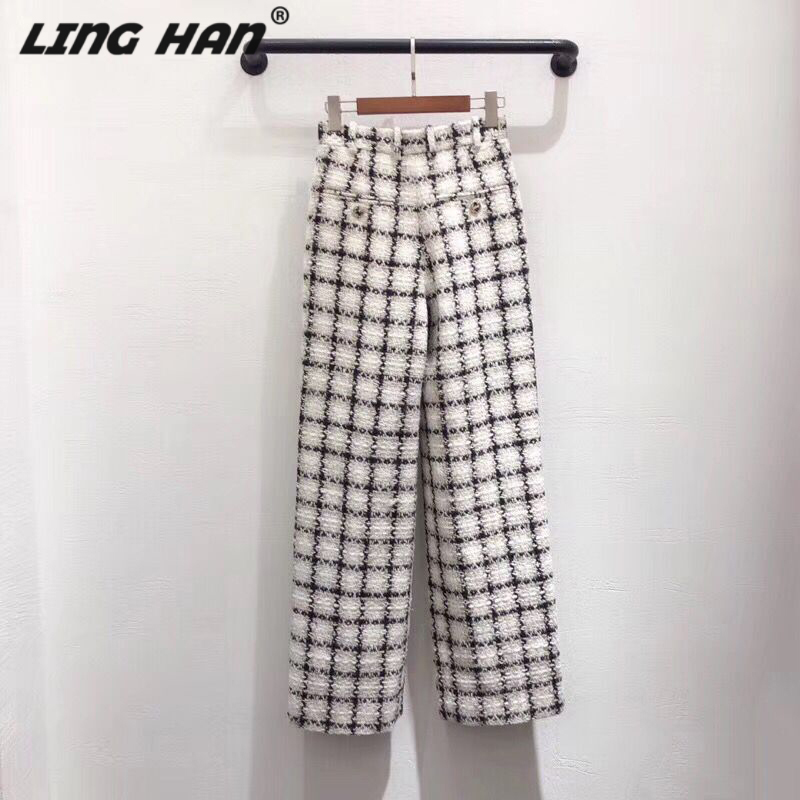 LINGHAN Fashion Black white plaid Tweed   Wide     leg     pants   Casual High waist trousers Designer Autumn Winter Runway New