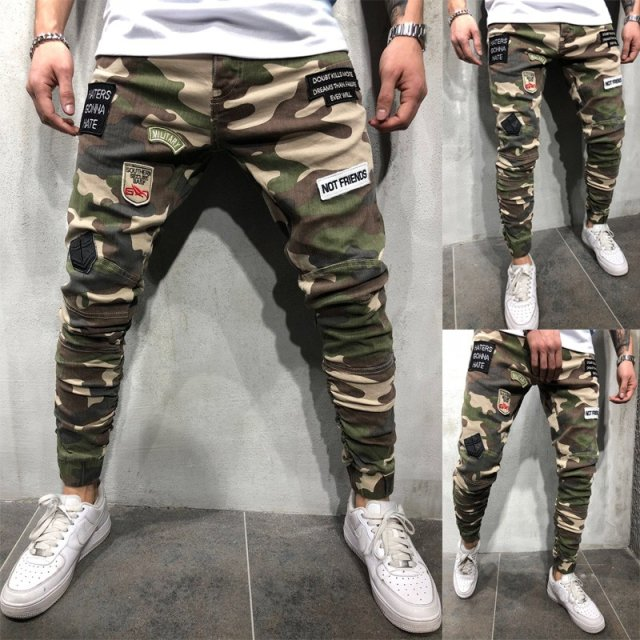 Men's Military Cargo   Jeans   Skinny Army Green Stripe Fashion Pants Street Style Trousers Green   jeans   men camouflage   jeans