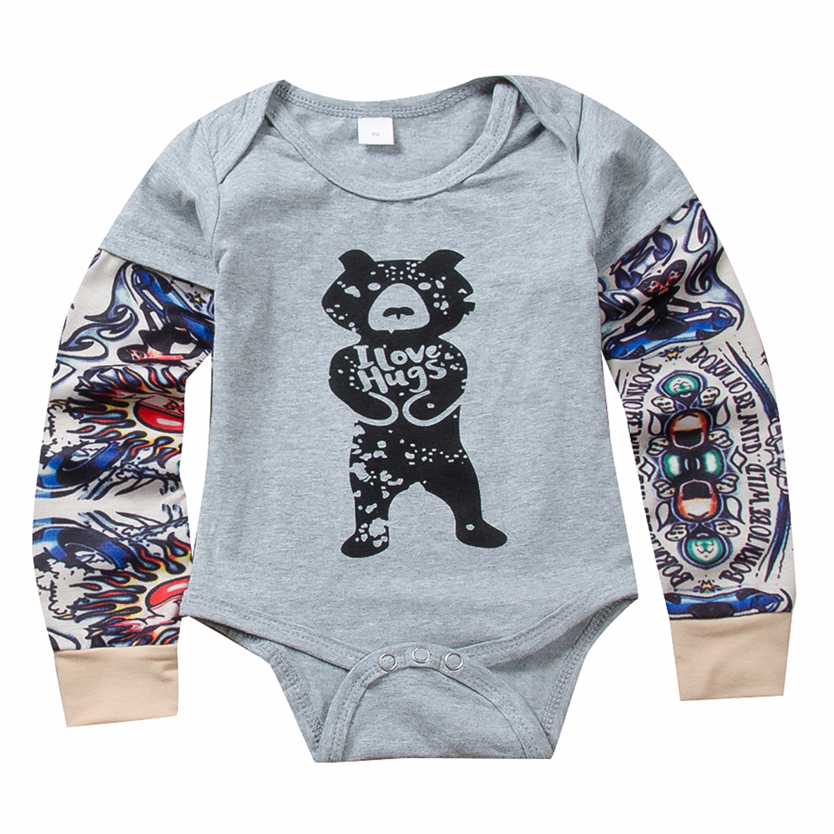 Infant Bear Costume | Infant Baby Romper Girls Boys L Love Hugs Cartoon Bear Costume Clothes For Kids Long Sleeve Letter Tattoo Print Jumpsuit Romper