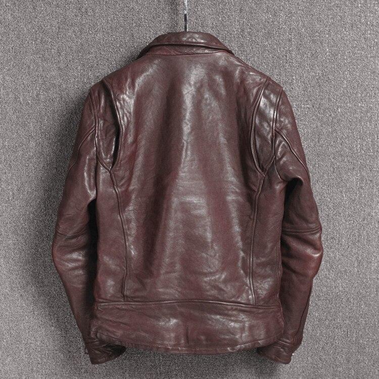 Men's Vintage Motorcycle Vegetable Tanning Sheepskin Slim Fit Biker Jacket Men Japanese Wrinkle Leather Coat Male
