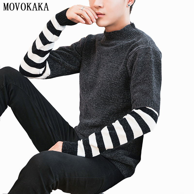 Fashion Black White Stripe Sweater Men Pullover Men Pull Men Mohair Knitted Sweater Male Casual Pullovers Slim Fit Men's Sweater