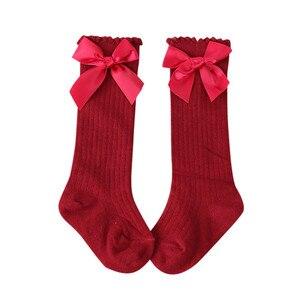 Cotton Knee Socks for Girls Big Bow Knee High Long Socks for Kids do not slip Princess Children's Socks Autumn Winter Style