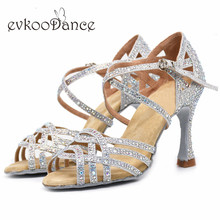 Evkoodance 10cm Heel Height Size US 4-12 Professional Zapatos De Baile Silver With Rhinostone Shoes For Women Evkoo-540