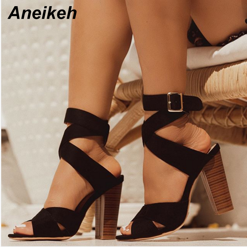 Aneikeh <font><b>Sexy</b></font> Shoes Woman Sandals Square Heels Gladiator Sandals Buckle High Heel Sandals Dress Open toe Pumps Shoes Size 35-42 image